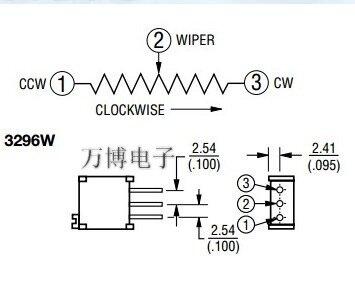 20 قطعة/50 قطعة الولايات المتحدة بورنز الدقة قابل للتعديل 3296W-502 5K المقاوم للتعديل سلسلة شحن مجاني