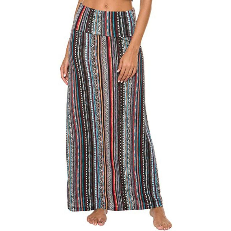 المرأة الصيف تنورة المرأة البوهيمي نمط طباعة الكورية التنانير الموضة طويل ماكسي طباعة اللون تنورة Faldas Largas أقراط