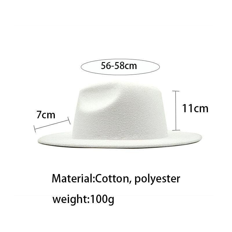خريف شتاء إمرأة قبعة لبّاد Fedoras كبير قبعات عريضة الحافة للنساء بريطانيّ نمط خمر كنيسة قبعات سيدة شقة حافة أبيض جاز قبعة