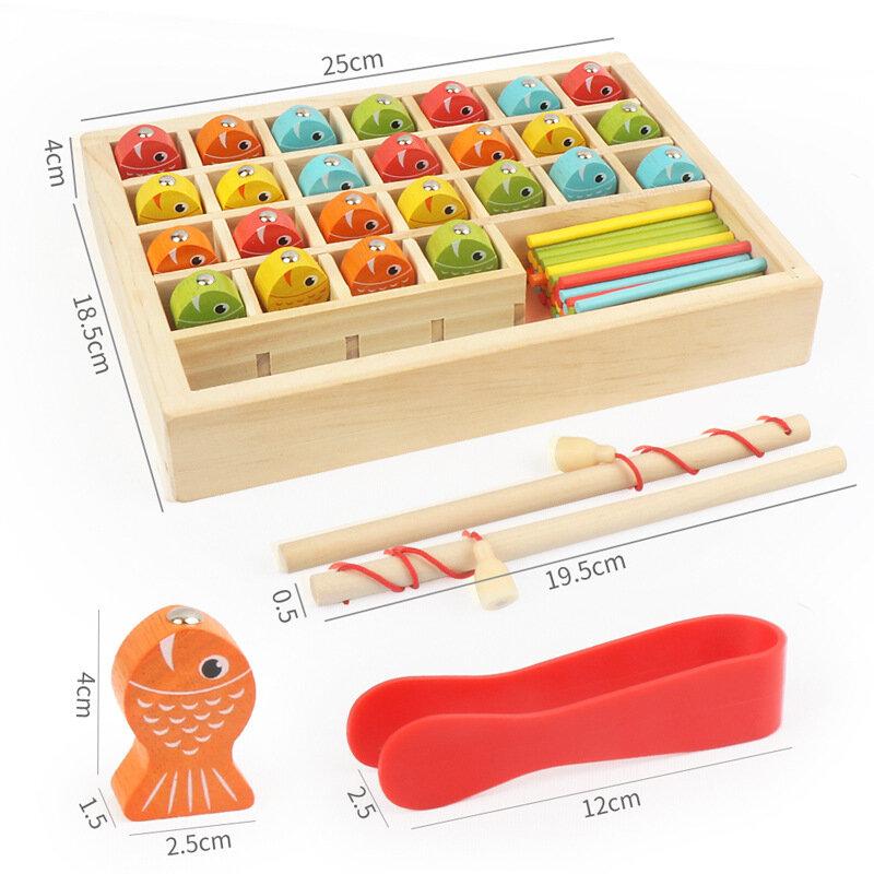 مونتيسوري التعليم المبكر الصيد صندوق التعلم لعبة الأطفال خشبية المغناطيسي الصيد متعددة الوظائف العد لغز لعبة