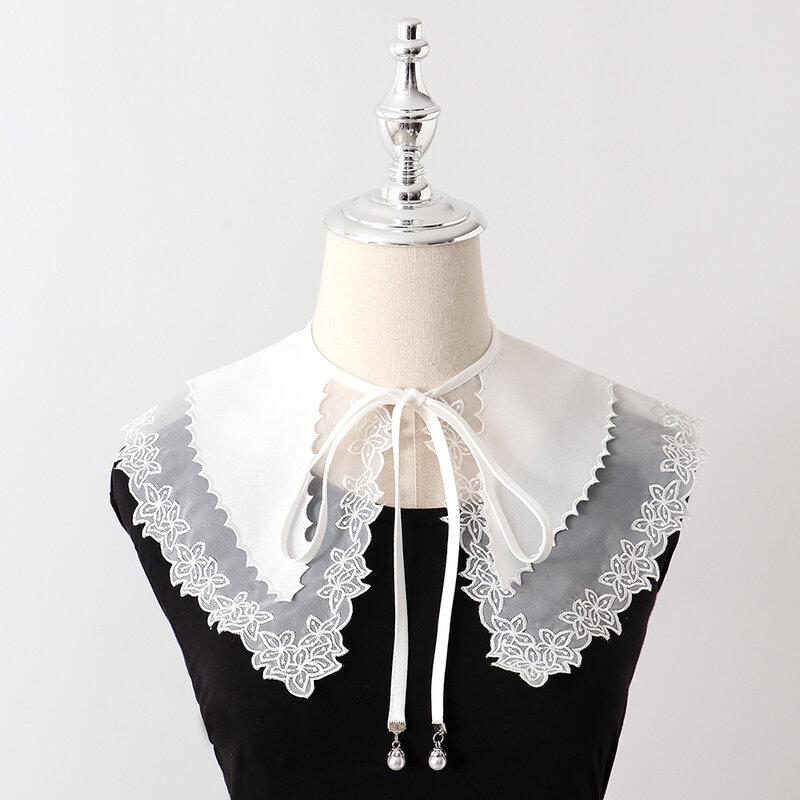 Linbaiway-طوق مزيف من الدانتيل للنساء ، أبيض ، زهور ، ياقة مزيفة ، طية صدر كبيرة قابلة للفصل ، شال ، ربطة عنق ، كيب صناعي