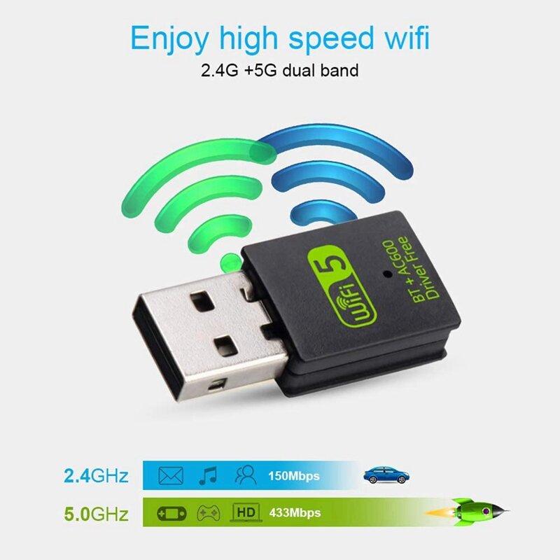 USB واي فاي محول 2.4G/5Ghz ثنائي التردد 600Mbps بلوتوث واي فاي كومبو USB بطاقة الشبكة اللاسلكية للكمبيوتر/كمبيوتر محمول