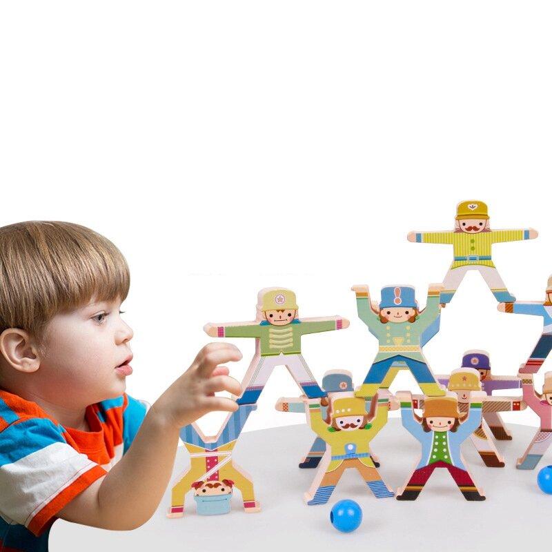 مكعبات بناء خشبية للتوازن ، ألعاب اليشم الخشبية للتكديس ، DIY ، ألعاب تعليمية للأطفال