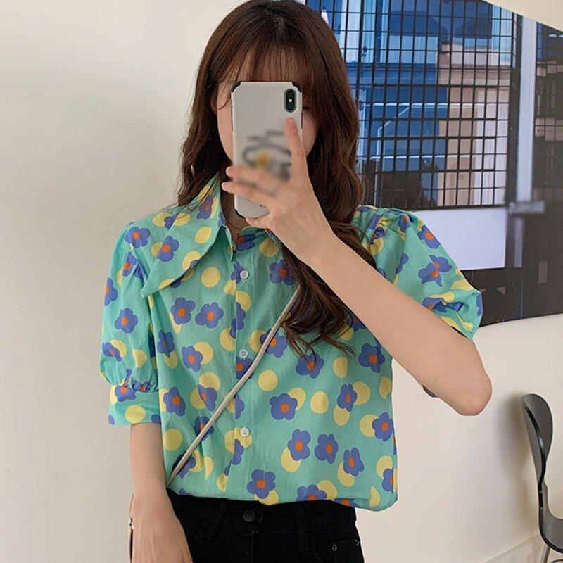 المرأة الأزهار بدوره إلى أسفل طوق قميص الصيف عادية فضفاض نفخة بلوزة شيفون قصيرة الأكمام