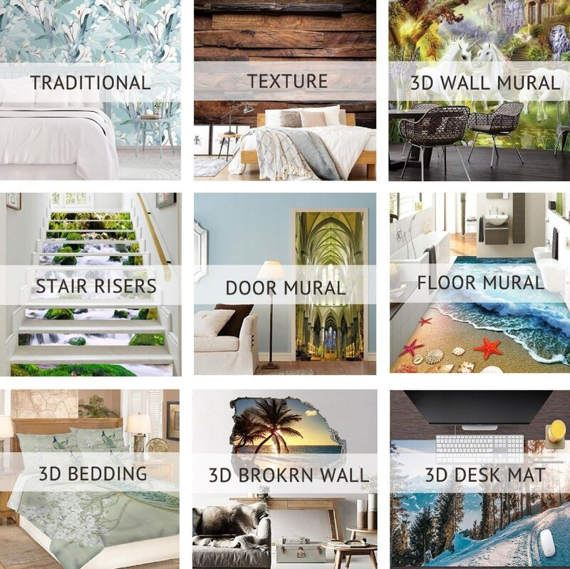 ملصق حائط مطبوع ثلاثي الأبعاد ، منظر طبيعي جميل للمياه الجبلية ، 6 ورق حائط
