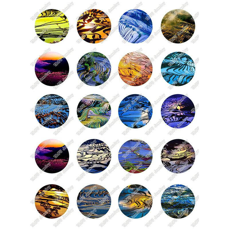 40 قطعة/الوحدة 10 مللي متر 12 مللي متر 14 مللي متر 16 مللي متر جولة المدرجات الحقل المشهد الزجاج كابوشون ل DIY صنع المجوهرات النتائج و مكونات T072
