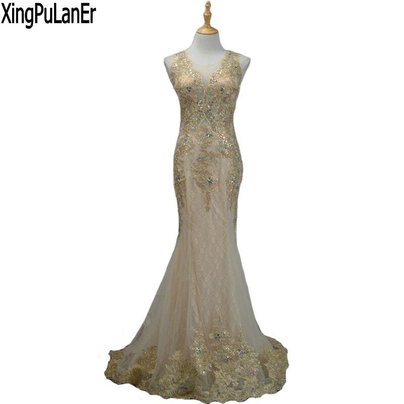 XingPuLanEr-فستان حورية البحر للنساء ، ملابس سهرة ، رقبة دائرية ، بلا أكمام ، دانتيل مطرز ، لؤلؤ شامبانيا ، مثير ، عرض