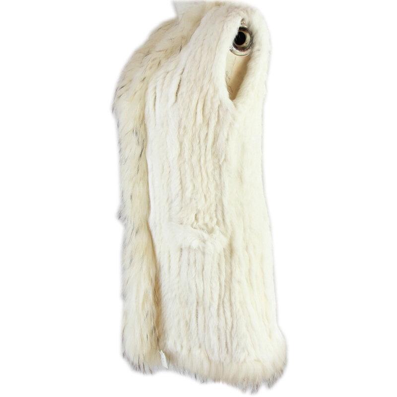 Harppihop الفراء سترة المرأة محبوك حقيقي حقيقي حقيقي الأرنب الفراء سترة معطف جيب الملابس و الراكون طوق دون هود