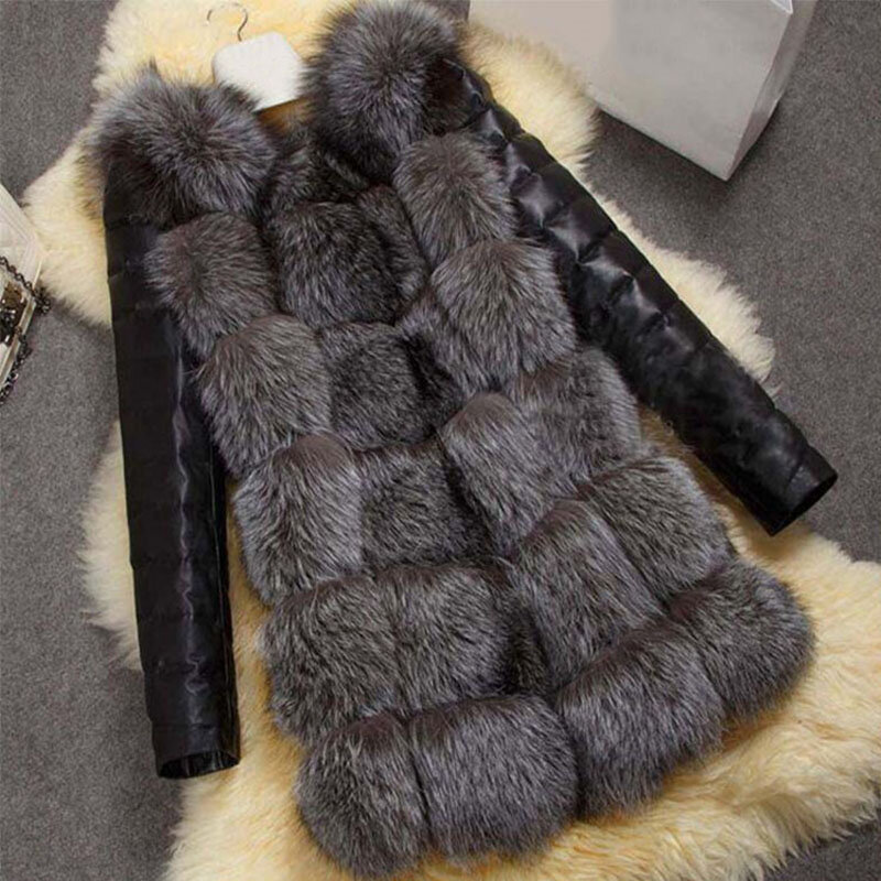 معطف جلد صناعي ، أكمام طويلة ، للنساء, معطف نسائي شتوي مصنوع من فرو الثعلب المقلد ، جاكيت للحفاظ على الدفء ، معطف نسائي كاجوال