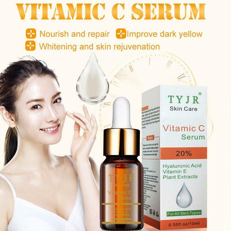 فيتامين C مصل للوجه حمض الهيالورونيك للعناية بالوجه ترطيب مكافحة الشيخوخة ثبات فيتامينات مصل E العناية بالبشرة 10 مللي الألوة الطبيعية