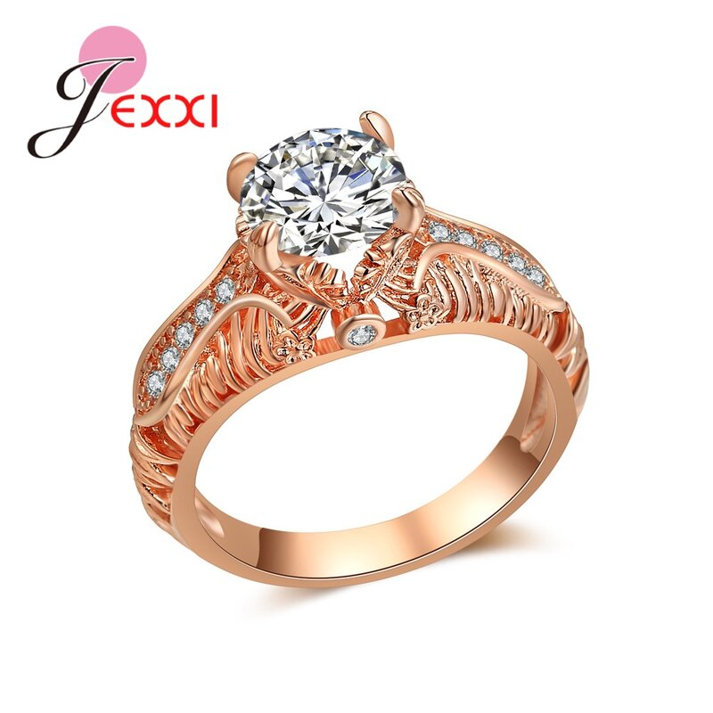 خاتم فاخر ساحر بلون الذهب الوردي ، كريستال كبير ، كلاسيكي ، عصري ، مجوهرات الزفاف ، هدايا أعياد الميلاد Bijou