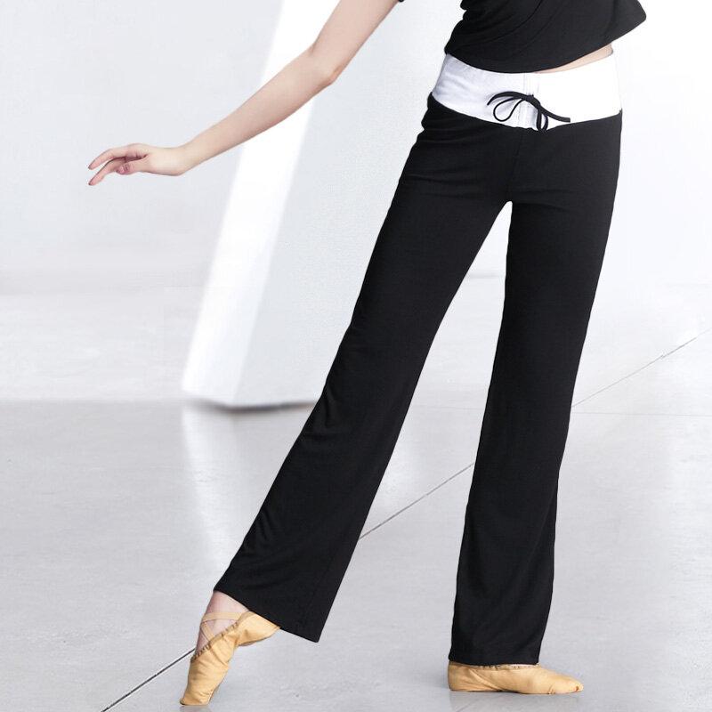 سروال رقص للنساء بخصر عالٍ وأرجل واسعة, سروال يوجا للركض لتمارين الجيم للبالغين
