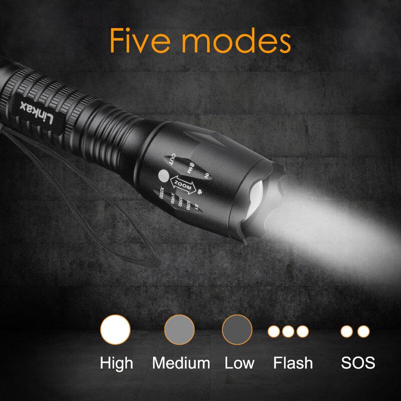 Linkax XML T6 مصباح يدوي LED ، مصباح يدوي LED 18650 ، 5 أوضاع قابلة للتعديل ، مصباح فلاش ، مصباح يدوي Antorcha ، فلاش الإضاءة