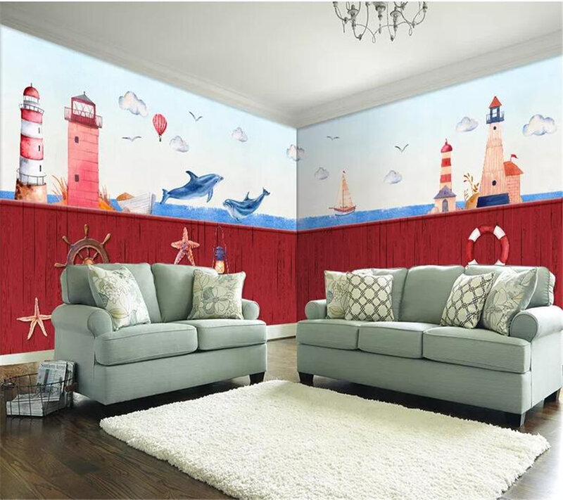 Wellyu ورق الحائط ديكور المنزل مخصص خلفية البحر المنارة المائية رسمت باليد منزل كامل مخصص حائط الخلفية