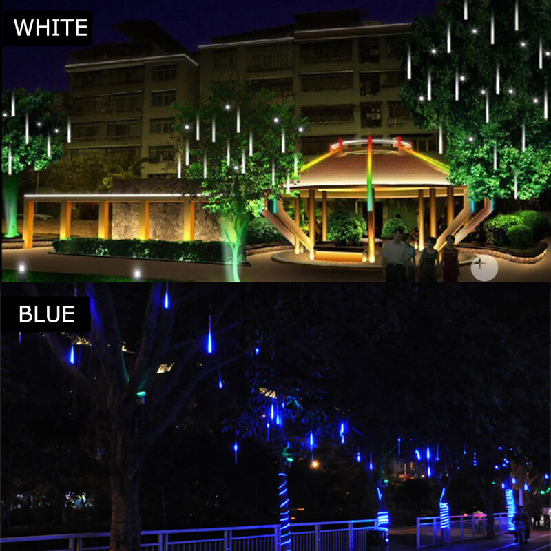 أنابيب LED نيزك للكريسماس ، 30 سنتيمتر ، 8 أنابيب ، قابس أوروبي ، ضوء سلسلة مقاوم للماء ، ديكور منزلي ، حديقة ، حفلة ، زفاف