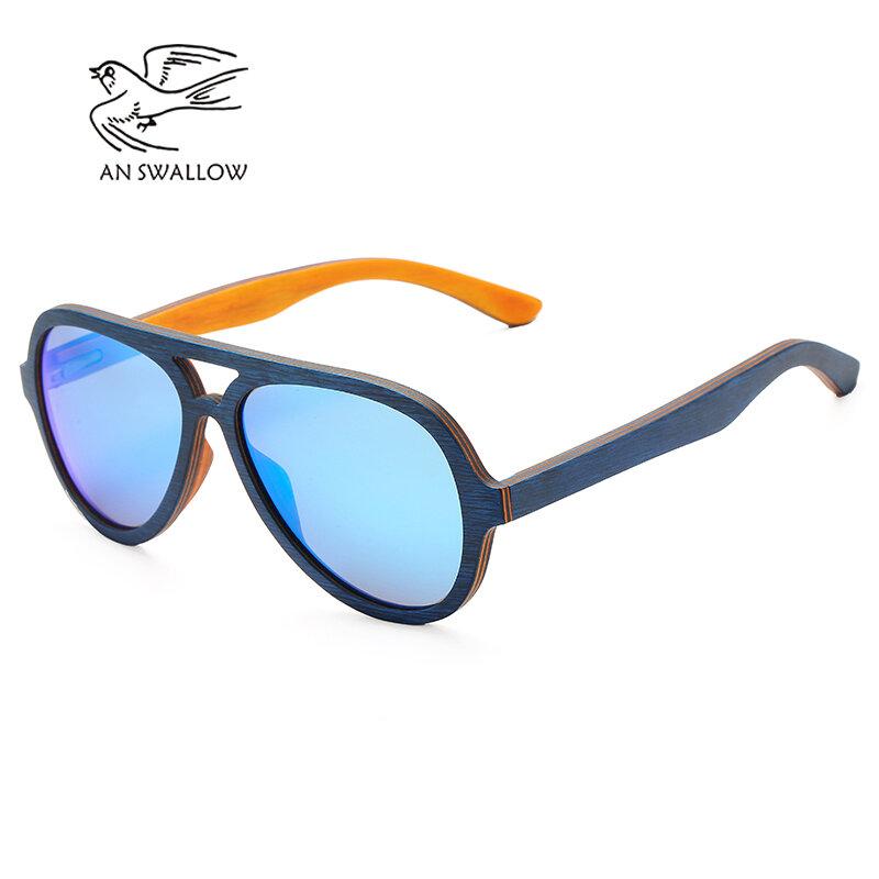 النظارات الشمسية المستقطبة النساء الرجال الطبقات لوح التزلج إطار خشبي مربع نمط نظارات للسيدات نظارات في صندوق خشبي