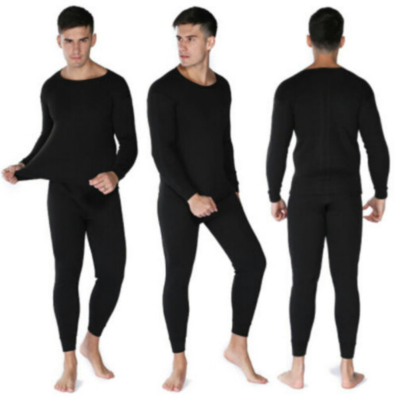 2018 جديد العلامة التجارية الشتاء اللياقة البدنية الرجال الملابس الداخلية الحرارية مجموعة طويلة الأكمام القطن أعلى أسفل نوم 2 قطعة جديد