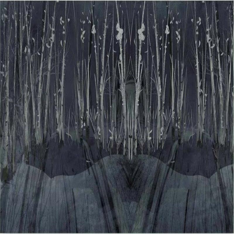 خلفية مخصصة شجرة الغابات الأسود شخصية الأدوات الجدار الديكور للماء المواد