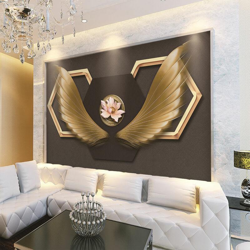 خلفية مخصصة الجداريات الإبداعية الأزياء الملاك أجنحة المطاوع الحديد الزخرفية جدار-عالية الجودة للماء المواد