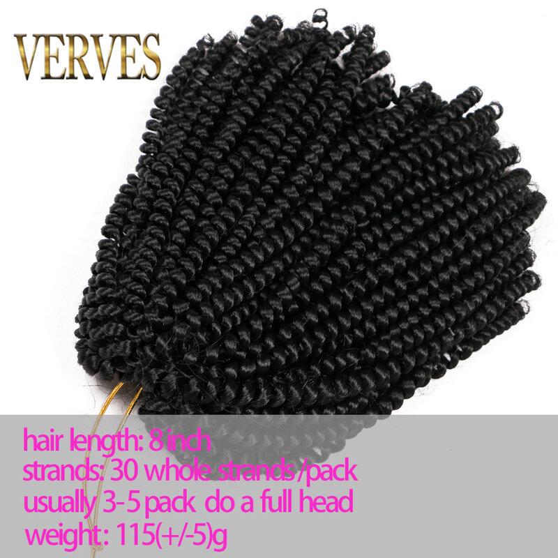 VERVES-وصلات شعر صناعية ، ضفائر كروشيه ، 8 بوصات ، 30 خصلة/عبوة ، خيوط مضفرة متدرجة ، بني ، أسود