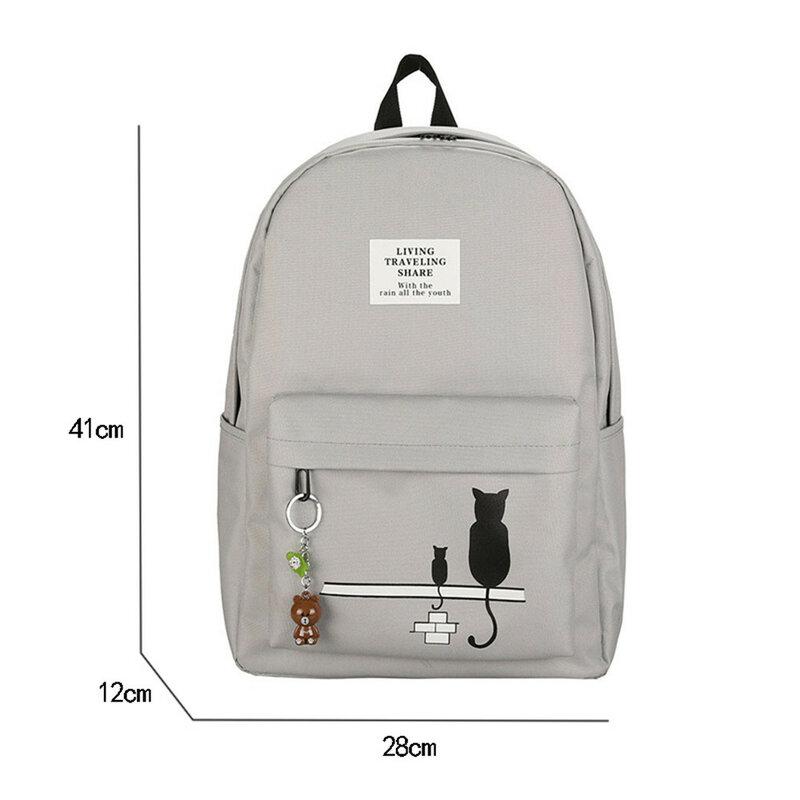 حقيبة ظهر نسائية بطبعة قطة ، حقيبة مدرسية للمراهقين ، حقيبة ظهر Mochila
