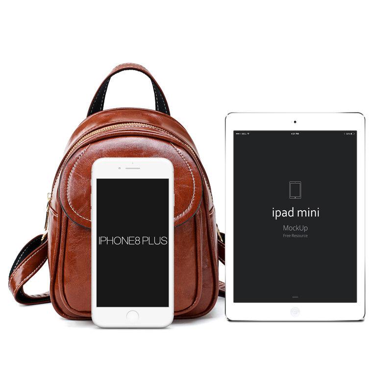 حقيبة ظهر كلاسيكية صغيرة من الجلد مع شمع الزيت للنساء ، حقيبة كتف ، حقيبة مدرسية ، حقيبة سفر عادية