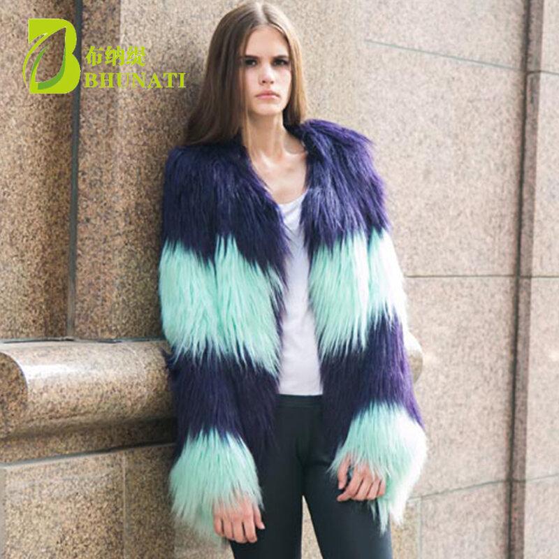BHUNATI-معطف طويل من الفرو الصناعي للنساء ، بأكمام طويلة ، كاجوال ، لون عقد ، BNT137