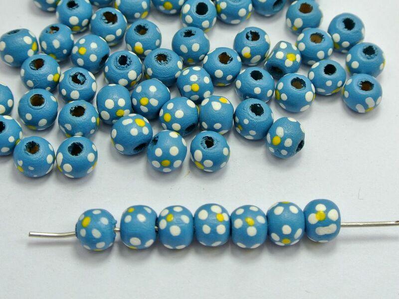 200 الأزرق زهرة جولة الخشب الخرز الخشبي 10 ملليمتر diy مجوهرات E01002