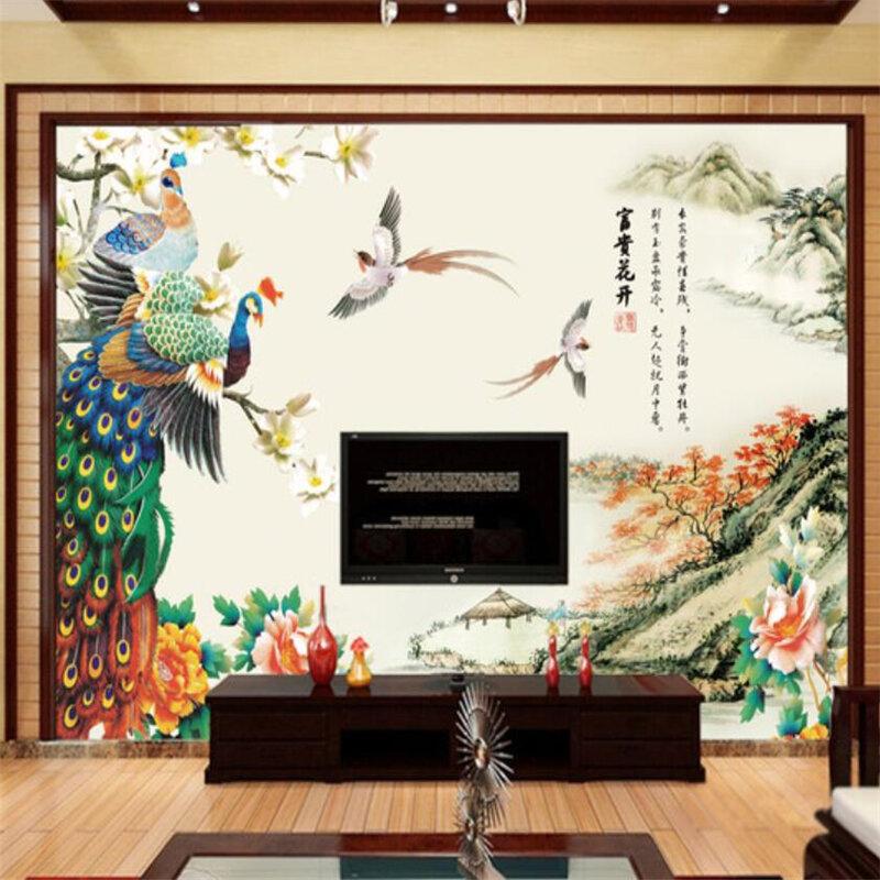 Wellyu مائة الطيور Chaofeng الطاووس الحبر تلفزيون المشهد خلفية مخصص جدارية كبيرة البيئة خلفيات جدارية