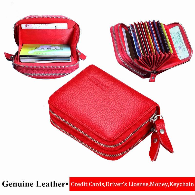 محفظة حمل بطاقات الهوية للرجال والنساء من الجلد الأصلي على الموضة الجديدة ، حافظة بطاقات الائتمان عالية السعة للنساء
