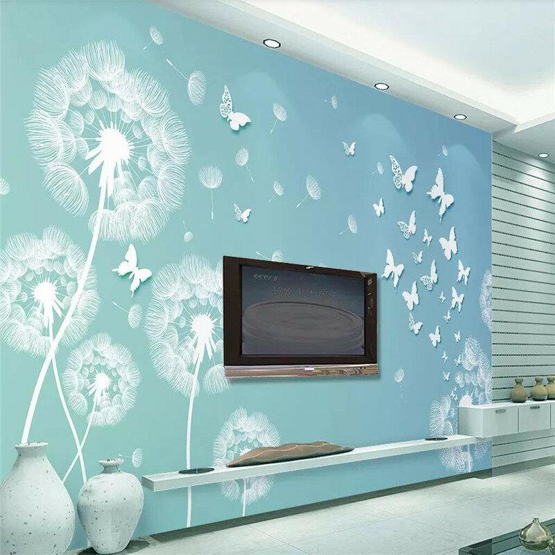 لا تزال بسيطة الأزرق 3d الهندباء فراشة التلفزيون حائط الخلفية المهنية مخصص جدارية خلفية مخصصة المشارك الصورة جدار