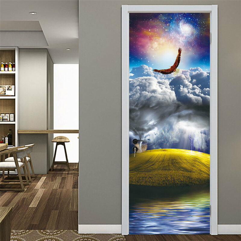 ملصقات باب إبداعية ثلاثية الأبعاد مقاس 77 × 200 سنتيمتر ، لاصق PVC للديكور الداخلي ، لغرفة النوم ، DIY ، مقاومة للماء
