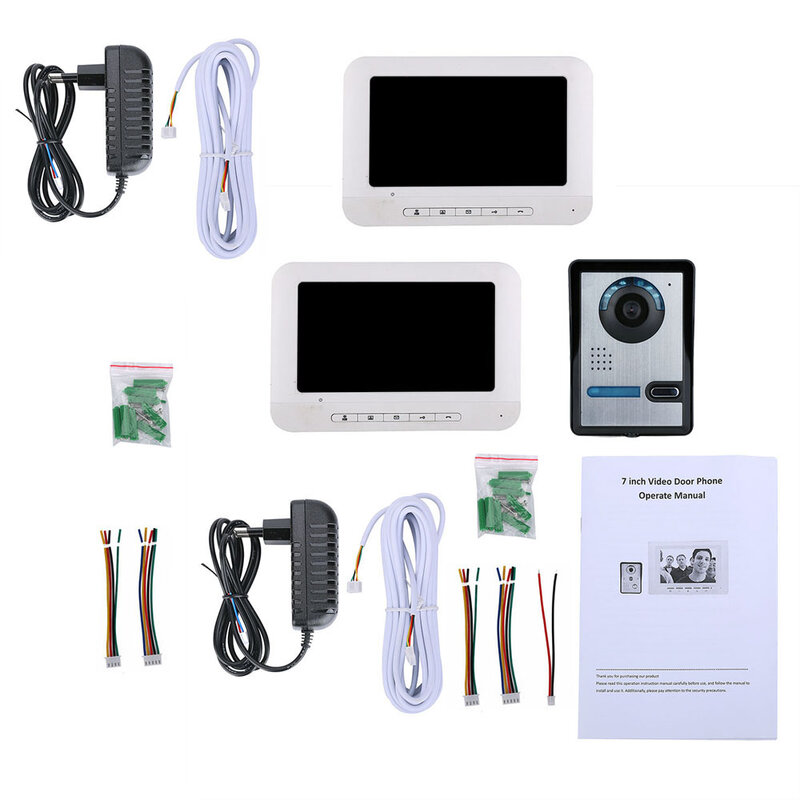 7 بوصة TFT 2 شاشات الفيديو باب الهاتف نظام الاتصال الداخلي بجرس الباب كيت 1-كاميرا 2-مراقبة للرؤية الليلية مع HD IR-CUT HD 700TVL كاميرا