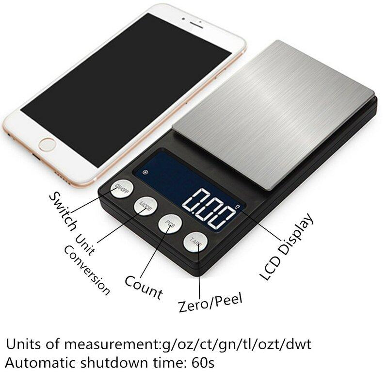 500 جرام/0.01 جرام الرقمية مقياس الجيب مجوهرات مقياس ميزان شاشة الكريستال السائل إلكتروني جرام الفولاذ المقاوم للصدأ المخدرات الوزن أداة 30% OFF
