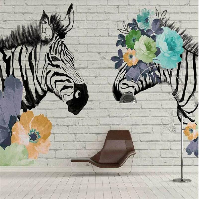 خلفية مخصصة جدارية زيبرا الزهور الحديثة حائط الخلفية عالية الجودة قماش صوفي