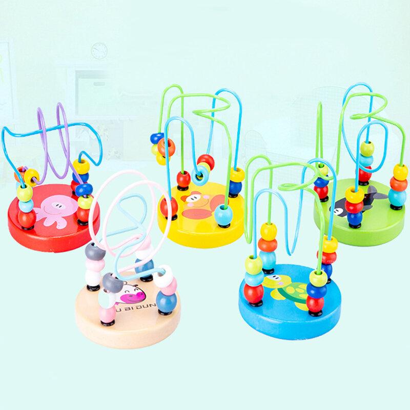 حار 12 سنتيمتر المبكر الرياضيات الطفولة التعلم لعبة الأطفال الاطفال طفل الملونة خشبية حول الخرز التعليمية لعبة أطفال هدية الخشب دمية