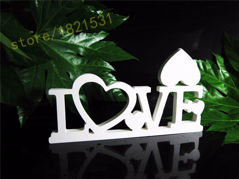 2016 الجديدة الملتصقة إلكتروني الحب إطار الصورة الخشب خشبية الأبجدية الأبيض ديكور المنزل عرس عيد