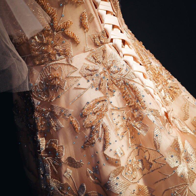 فستان سهرة طويل من الدانتيل والتل, فستان سهرة أنيق من الدانتيل ذو فتحة رقبة على شكل حرف V ، مطرز بالخرز من موضة 2020 ، مناسب للحفلات