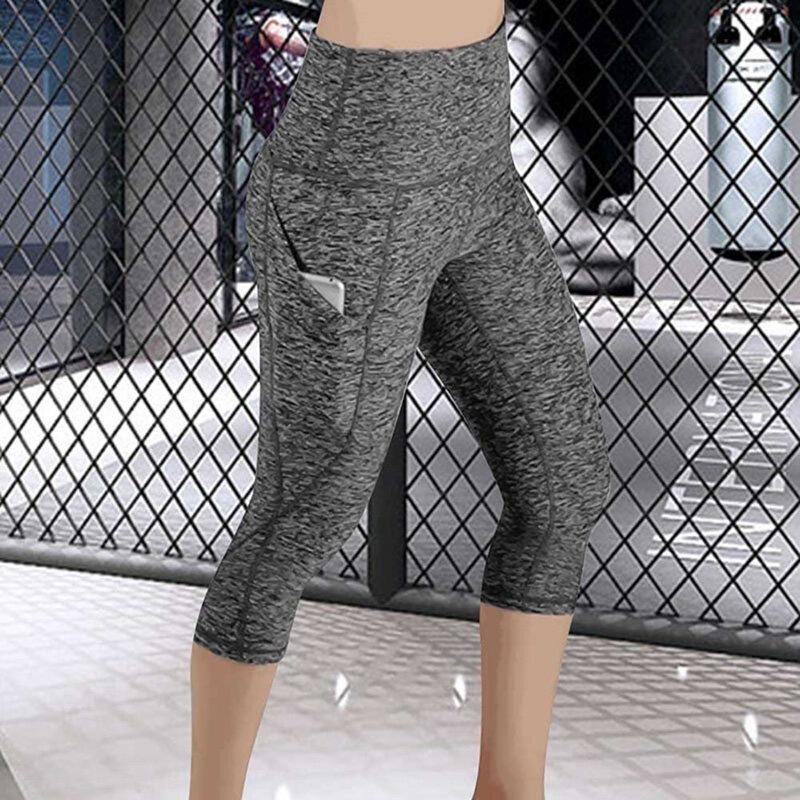 طماق 3/4 السراويل الإناث كابري بانت عادية اللياقة البدنية الرياضية عالية الخصر السراويل جيوب جانبية تصميم طماق الرياضية