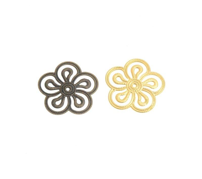 شحن مجاني 20 قطعة برونزية/أبيض K/الذهب معدن زهرة تخريمية الأغطية موصلات المعادن الحرف الديكور DIY النتائج 35*35 مللي متر