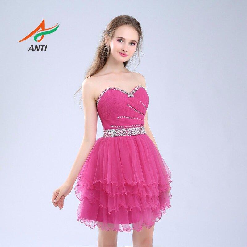 فستان فوشيا مع طيات ، فستان كوكتيل فوق الركبة ، تول ، رخيص