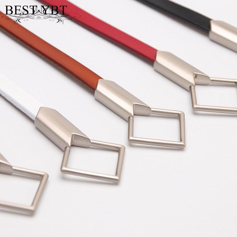 أفضل YBT-حزام نسائي من الجلد المقلد ، مشبك رباعي ، بدون ثقوب ، معقود ، زخرفة تنورة