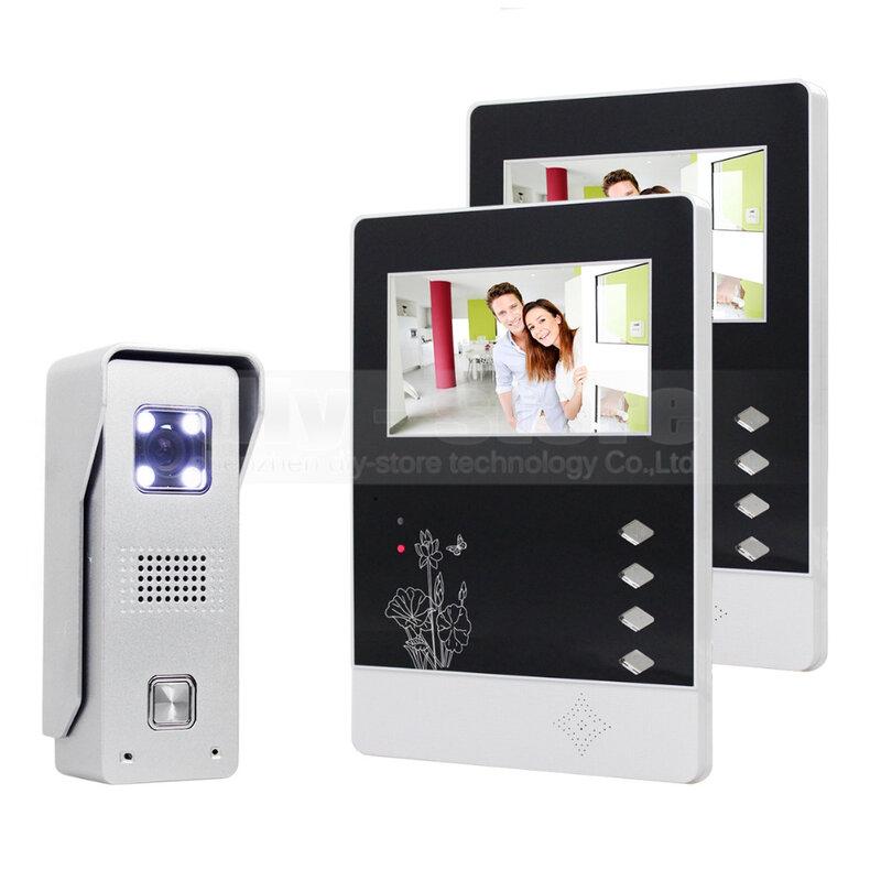 DIYSECUR-شاشة TFT LCD ملونة مقاس 4.3 بوصة ، سبائك الألومنيوم ، كاميرا CCD ، هاتف فيديو ، باب ، جرس باب ، رؤية ليلية LED