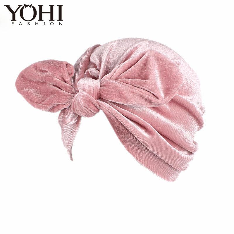 2018 حار جديد الفاخرة المخملية أرنب الأذن عمامة القبعات النساء لينة المخملية الكيماوي قبعة باندانا هيرباند الكيماوي كاب