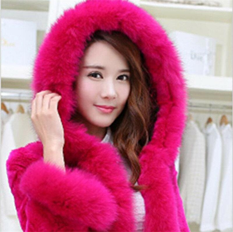 MSAISS-معطف شتوي دافئ من فرو الأرانب المقلد للنساء ، بياقة من الفرو الصناعي