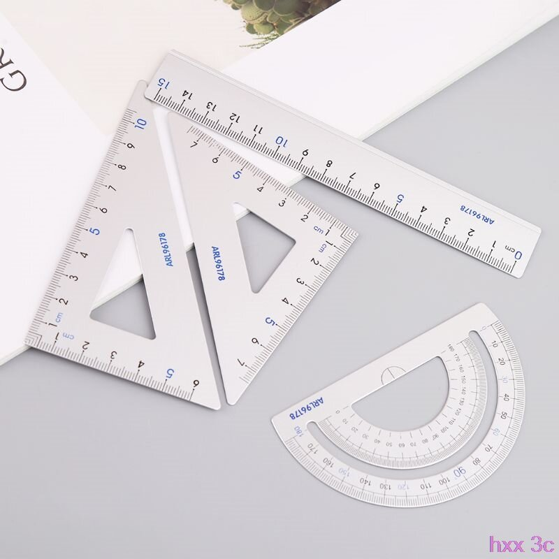 4 قطعة الرسم اللوازم المدرسية مجموعة مربع مثلث حاكم الألومنيوم سبائك المنقلة