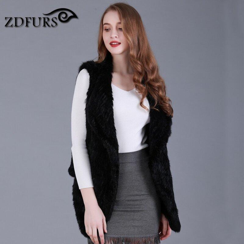 ZDFURS * جديد أزياء الحقيقي محبوك الأرنب الفراء سترة حقيقية الأرنب الفراء صدرية الأرنب الفراء جيليه الساخن بيع ZDKR-165013