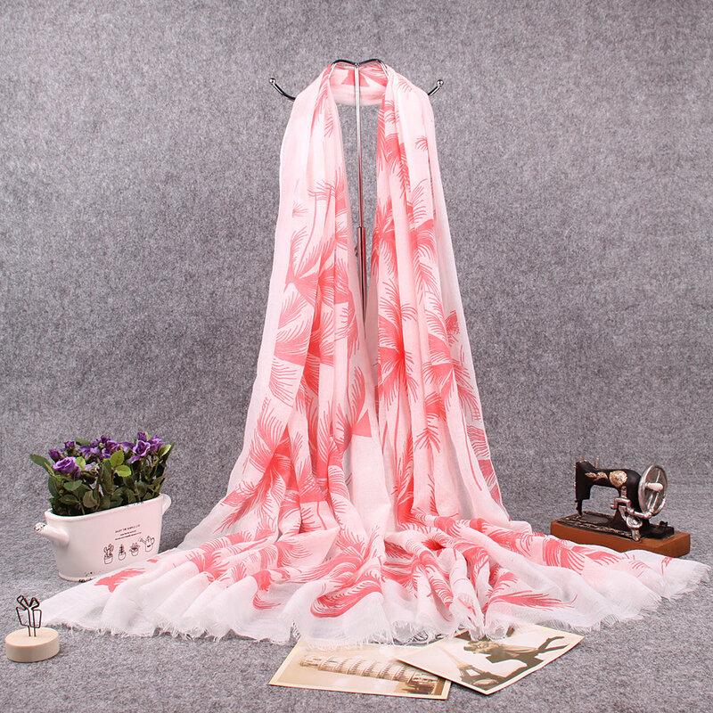 2017 جديد شجرة جوز الهند طباعة وشاح المرأة TR القطن التفاف شال سيدة القطن والأوشحة الحجاب بالجملة مزيج اللون 100 قطعة/الوحدة