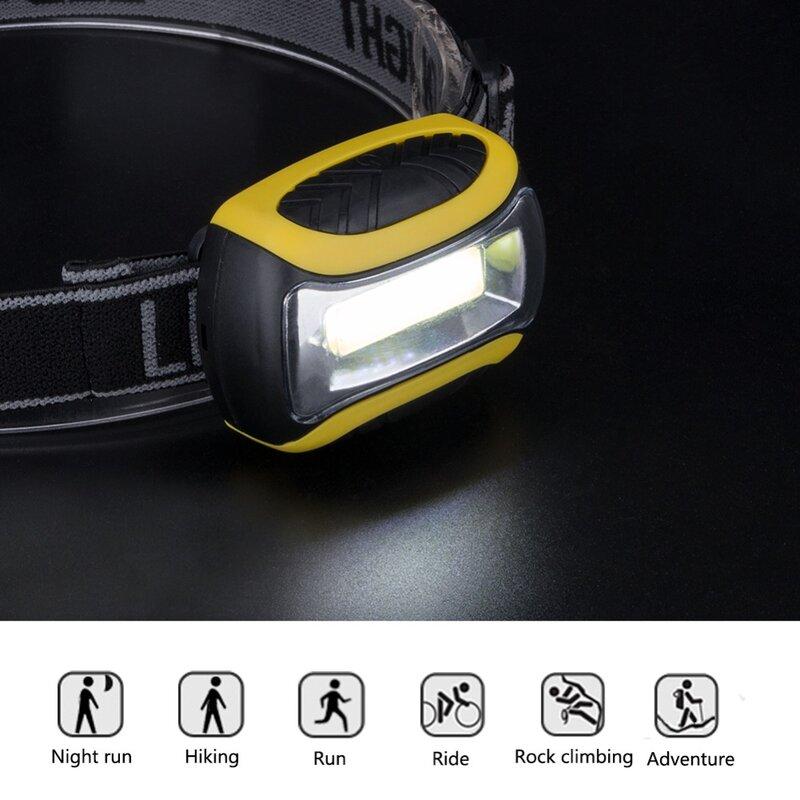 مصباح أمامي LED COB مع 3 أوضاع للإضاءة ، مصباح أمامي PVC للصيد ، التخييم ، الأنشطة الخارجية ، مع 3 بطاريات AAA