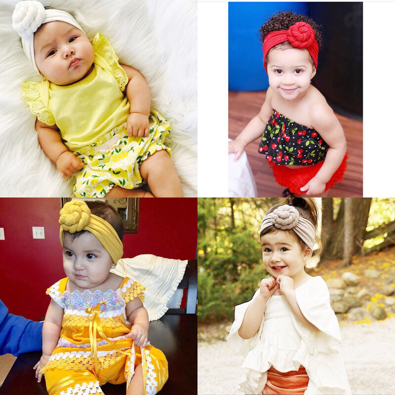 قبعات أطفال حديثي الولادة ، عمامة ، عصابة رأس جميلة ، أغطية رأس للأطفال ، أغطية رأس صلبة مجعدة ، إكسسوارات للأطفال الصغار